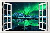 Éblouissant Belle Nuit D'hiver Ciel Étoilé Aurore Arctique Violet Neige Paysage Mur Autocollant Vinyle Mural 3D Fenêtre Vue PVC Decal Chambre décoration de la maison