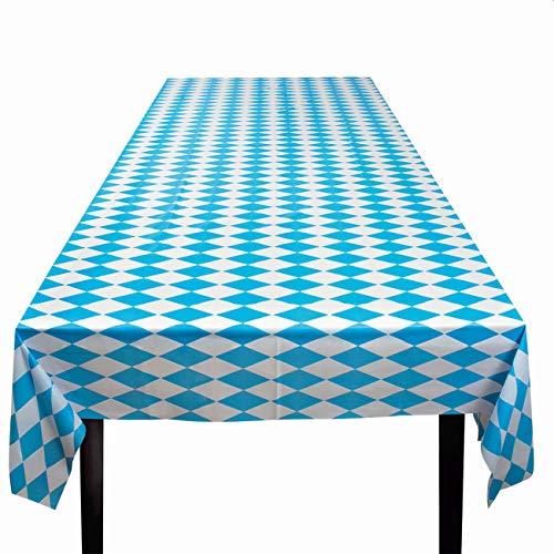 Boland 54256 - Tischdecke Bayern, Blau-Weiß, Größe 180 x 130 cm, aus Kunststoff, Oktoberfest, Tisch, Dekoration, Party, Geburtstag, Party