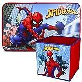 Spiderman Alfombra Infantil y Caja Juguetes Plegable, Pack Decoracion Habitacion Infantil con Alfombra Dormitorio y Organizador Juguetes Infantil | Caja Guarda Juguetes Niños