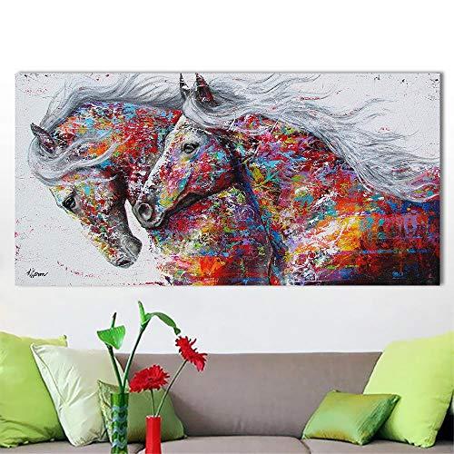 RuYun Single Pentium paard moderne huisdecoratie woonkamer slaapkamer spuiten schilderij, 30X60CM kern, kleur