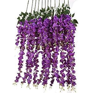 Artificial Silk Wisteria Vine Rattan Garland Fake Hanging Flower Wedding Party Home Garden Outdoor Ceremony Floral Decor,3.18 Feet, 6 Pieces (Purpule-2)