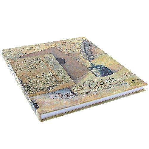 Goldbuch gastenboek met bladwijzer, nostalgie, 23 x 25 cm, 176 witte blanco pagina's schrijfpapier, kunstdruk gelamineerd, bruin/beige, 48089