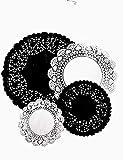 Confezione da 100 centrini rotondi di carta con pizzo, colore bianco e nero, misure assortite da 5 a 15 a 20 e 25 cm (25 di ciascuno)
