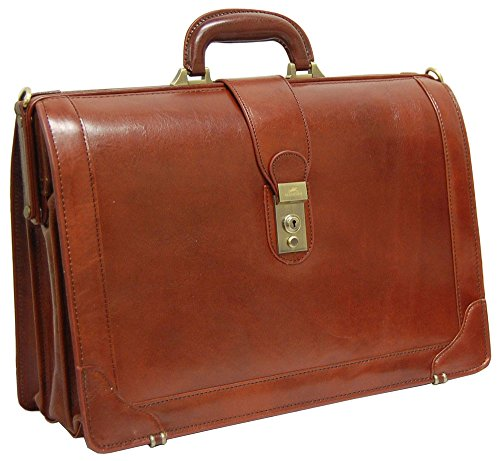 Mancini Brown Italian Leather Lawyer doctor Briefcase