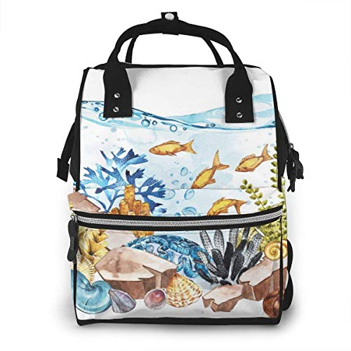 UUwant Sac à Dos à Couches pour Maman Large Capacity Diaper Backpack Travel Manager Baby Care Replacement Bag Nappy Bags Mummy BackpackThe Ocean and The Underwater World