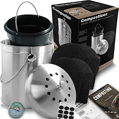 Sale!! Compostizer Introducing Stainless Steel 1.3 Gal Kitchen Compost Bin Kit, Special e-Vent Techn...