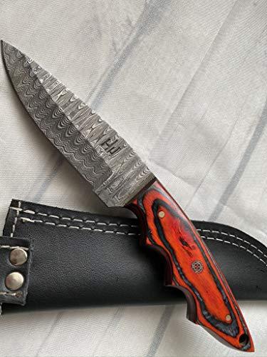 Hobby Hut HH-347, Damaststahl-Jagdmesser mit Scheide, Messer mit Fester Klinge