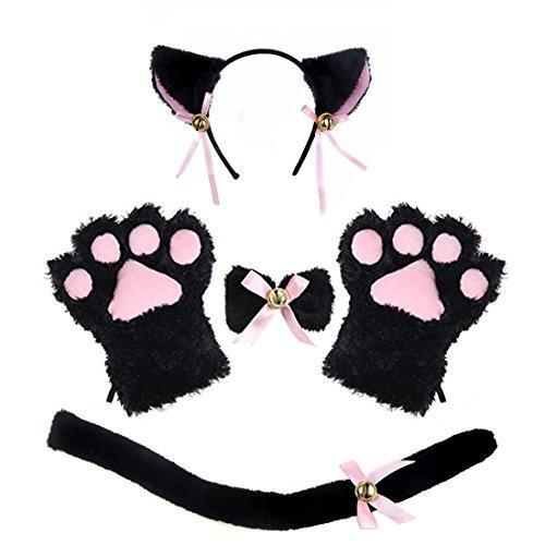 ECOSCO Disfraz de Gato Adulto con Orejas, Collar y Guantes, Disfraz de Lolita gótico - Negro - Talla única