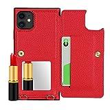 SunYoo Custodia per iPhone 11, con Pelle Litchi e Specchio per Il Trucco e Slot per schede con Cordino Compatibile per iPhone 11(6,1 Pollici)-Rosso