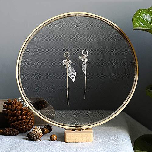 Preisvergleich Produktbild Mesh-Ohrring Halter Ohrring-Halter-Vitrine mit Holz zu Schaufenster Steht und organisieren Sie Ihren Schmuck für Mädchen-Frauen