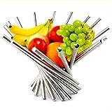 zyh Tazón de Frutas de Acero Inoxidable Plegable Creativo para Cocina,Plato de Frutas (1 artículo)