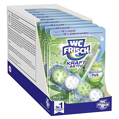 WC FRISCH Kraft Aktiv Pro Nature Minze und Eukalyptus, WC-Reiniger und Duftspüler 10 (10x1) Stück