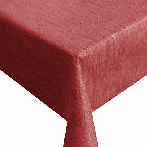 DecoHomeTextil Wachstuch Robuste Leinen Prägung Pro RUND OVAL ECKIG Breite & Länge wählbar Rot Eckig 160 x 160 cm abwaschbare Tischdecke Gartentischdecke