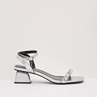 shoexpress Women's Embellished Ankle Strap Heels with Buckle Closure Heeled Sandal
