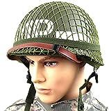 Parfait WW2 US Army M1 Vert Casque Réplique avec Filet/Toile Jugulaire Bricolage Peinture, Adapté pour Airsoft Paintball CS Cosplay Halloween Party