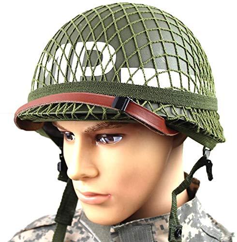 Perfekte WW2 US Army M1 Green Helm Replik Mit Netz/Leinwand Kinnriemen DIY Gemälde, Geeignet Für Airsoft Paintball CS Cosplay Halloween Party