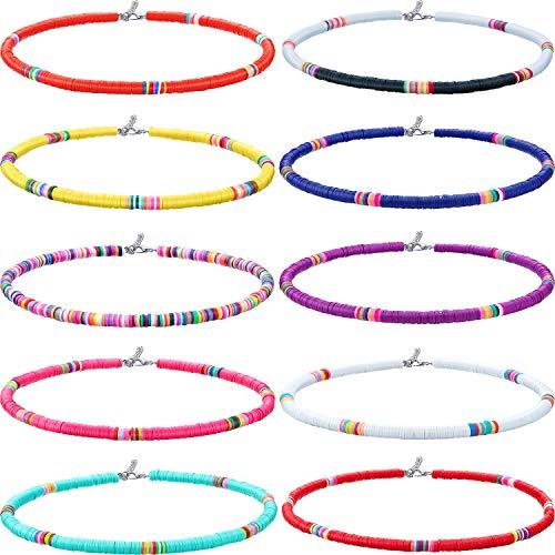 10 Piezas Collar de Surfero Heishi Collar de Cuentas de Heishi Gargantilla de Cuentas Boho para Fiesta Mujeres Niñas