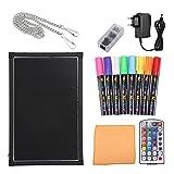 Panel de mensajes luminoso, LED pizarra negra, panel para escrituras y dibujos, borrable, iluminado, con 8 colores 40CM*60CM