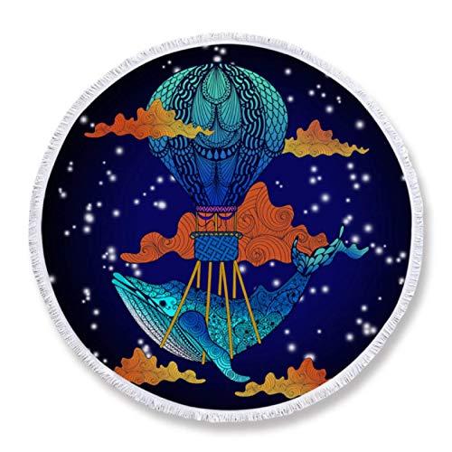 GermYan Toalla de Playa Redonda de Ballena Azul de Dibujos Animados para niños Toalla de Verano de Microfibra 150Cm Manta Estampada Floral Boho Estera de Picnic