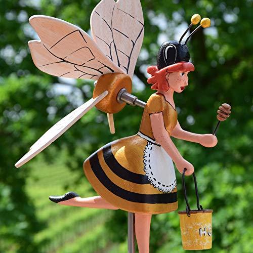Biene Windrad Windmühle Gartendeko,Holz Biene Gartenstecker,Biene Gartenstatuen Biene Figuren DEK ,Ornamente für Terrasse, Vorgarten, Rasen (B)