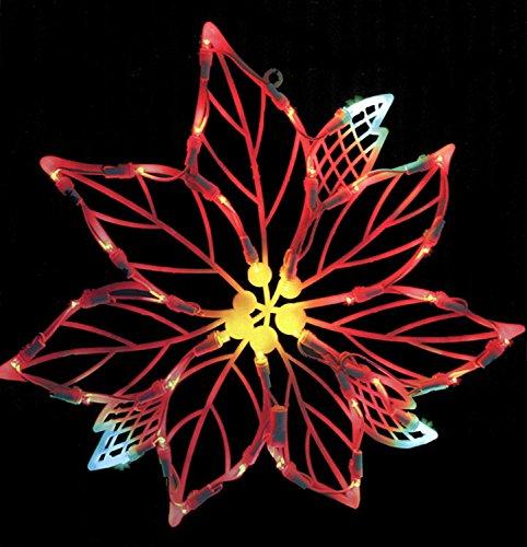 Vickerman Lighted LED Poinsettia Flower Christmas Window Silhouette Decoration, 15'