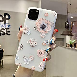 Topwin iPhone 11 Pro Max 6.5'' 2019 Floral Case, 3D Relief Flower Cute TPU Silicon Phone Case Ultra-Thin Slim Lightweight Cover for Girls for Apple iPhone 11 Pro Max 6.5'' 2019 (Pink)