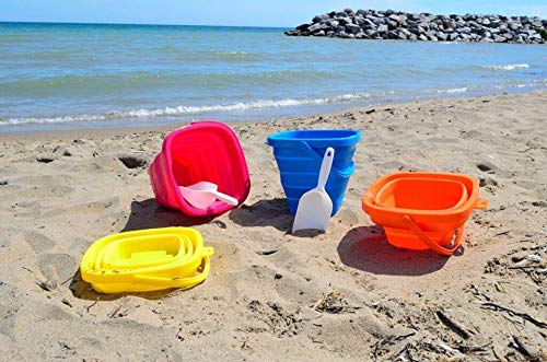 Packable Pails - Collapsible Silicone Bucket [5 Liter] with Handle + Shovel | Travel, Beach, Sandbox, Camping, Fishing, Outdoors, Water, Gardening, Cleaning, Car wash | Kids Easter Gift Basket (Orange