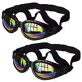 N/ A 2 gafas de perro con correa ajustable, protección contra el desgaste de los ojos para viajes, esquí, gafas de sol resistentes al agua para perro (negro)