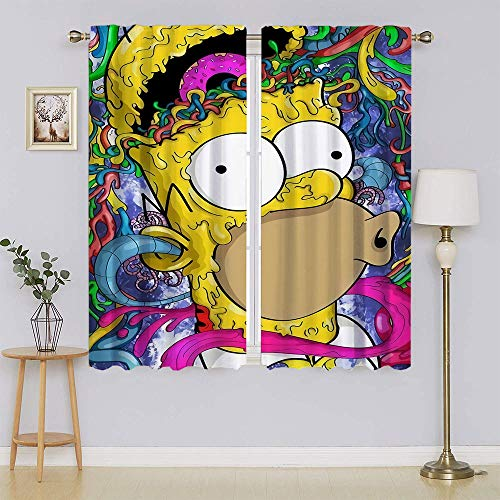 lacencn The Simpsons Movie Poster Energy Efficient Grommet Curtain Panel,Thermal Insulated Energy Efficient Curtain for Nursery Window Curtains W63 x L63