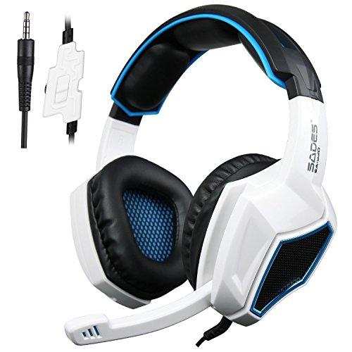 Casque Gaming pour Xbox One S PS4, Casque Gamer Sades SA920 avec Microphone, Basses Stéréo Supra-Auriculaire 3,5mm,Réduction de bruit,Contrôle du Volume,Compatible PC,Mac,iPad,Smartphone (Noir/Blanc)