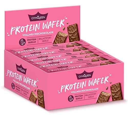 GymQueen Protein Wafer Vorratsbox 24 x 20g, knusprige Protein Waffeln mit zartschmelzender, belgischer Vollmilchschokolade, weniger als 100 kcal pro Riegel, Protein- und Ballaststoffquelle, Zuckerarm