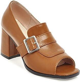 BalaMasa Womens APL11833 Pu Block Heels