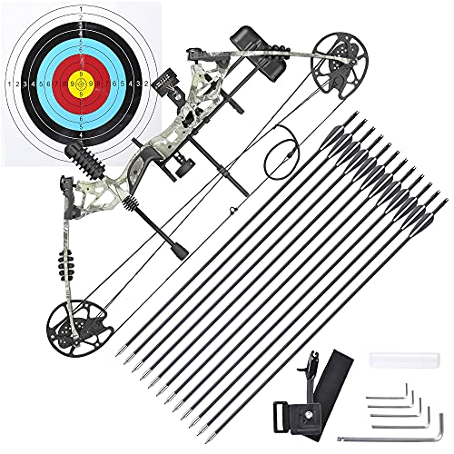 AW 70 Lbs Pro Compound Right Hand Bow Kit Arrow Archery Target Hunting Camo Set