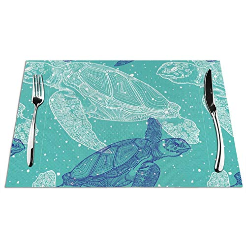 Sea Turtle Placemats Watercolor Hand Drawn Green and White Sea Turtle in Green Ocean Nautical PVC Woven Placemats Durable Sea Turtle Ocean Creature Landscape for Heat-Resistant Table Mats Anti-Skid