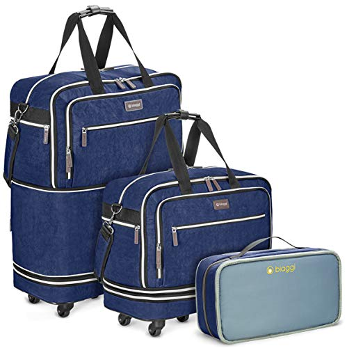 Biaggi Zipsak Boost Max Carry-On Suitcase - Compact Luggage Expandable - As Seen on Shark Tank - Navy Blue