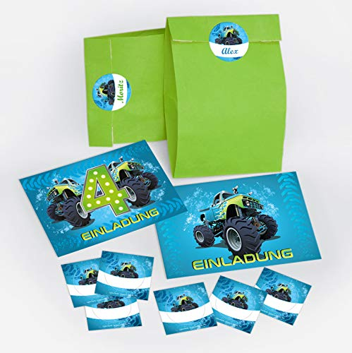 12 Einladungskarten 4. Geburtstag Kinder Junge Monstertruck incl. 12 Umschläge, 12 Tüten/grün, 12 Aufkleber / Monster-Truck / Auto / Einladungen zum vierten Kindergeburtstag für Jungen