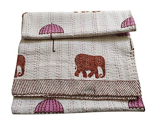 silkroude Colcha Kantha con diseño de elefante con paraguas kantha cubierta de cama manta india colcha hippie india colcha se vende