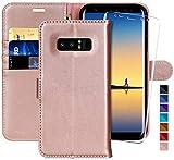 MONASAY Galaxy Note 8 Handyhülle,6,3 Zoll, [Gehärteter Glasschirmbeschützer Inbegriffen][Kartenfach] [Standfunktion] Klappbar Leder Tasche Brieftasche Schutzhülle für Samsung Galaxy Note 8