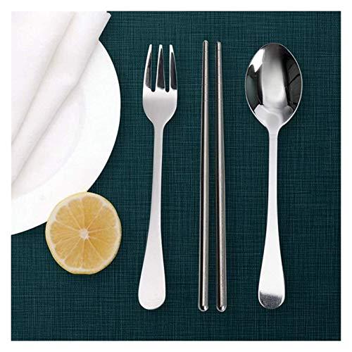Chopstick reutilizable Set Lavavajillas-Caja fuert Palillos Caja de cubiertos de acero inoxidable de acero inoxidable de tres piezas Cuchara de cuchara de cuchara de tres piezas Caja de palillos
