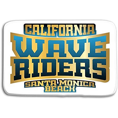 NA Piso de la Cocina Alfombrillas de baño Alfombra Wave Riders Tipografía California Beach Retro Athletic Style Imprimir Ropa Deportiva Plantilla 50x80CM
