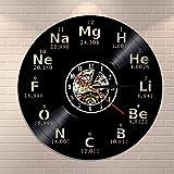 Reloj de pared de vinilo 3D elemento químico reloj de pared símbolo de química reloj tabla periódica arte de la pared idea del maestro reloj de pared moderno
