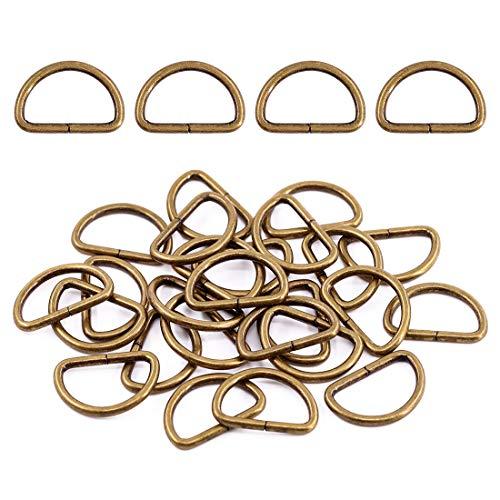 Swpeet 150Pcs 1 Inch / 25mm Bronze Heavy Dut Multi-Purpose Metal D Ring Semi-Circular D Ring for Keychains Belts Hardware Bags Ring Hand DIY (Bronze, Metal D Rings)