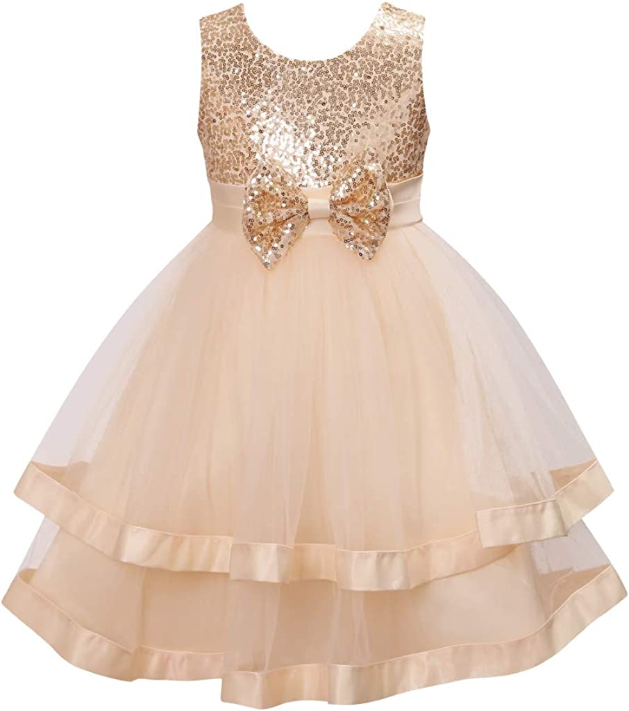 Colorful House Girls' Sequined Formal Wedding Bridesmaid Party Dress