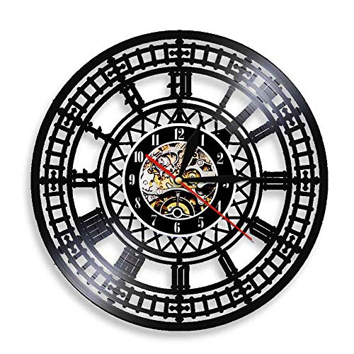 30cm Big Ben Reloj de vinilo London Westminster Reloj de pared Arte de pared moderno Reloj de pared 3D Reloj de registro de gramófono de Londres Reloj con 7 colores Cambiar Amigo Regalos Lámpara Luc