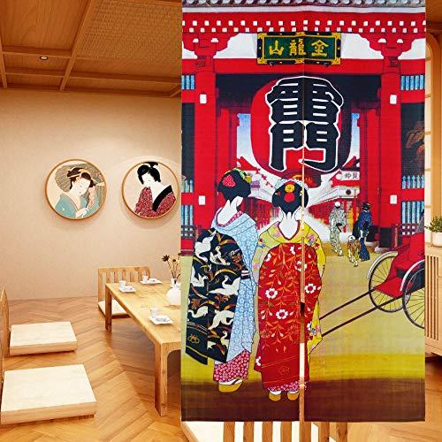 LIGICKY Noren Cortina de estilo japonés para puerta con diseño de geisha para niñas en kimonos, estilo largo, para decoración del hogar, 85 x 149 cm