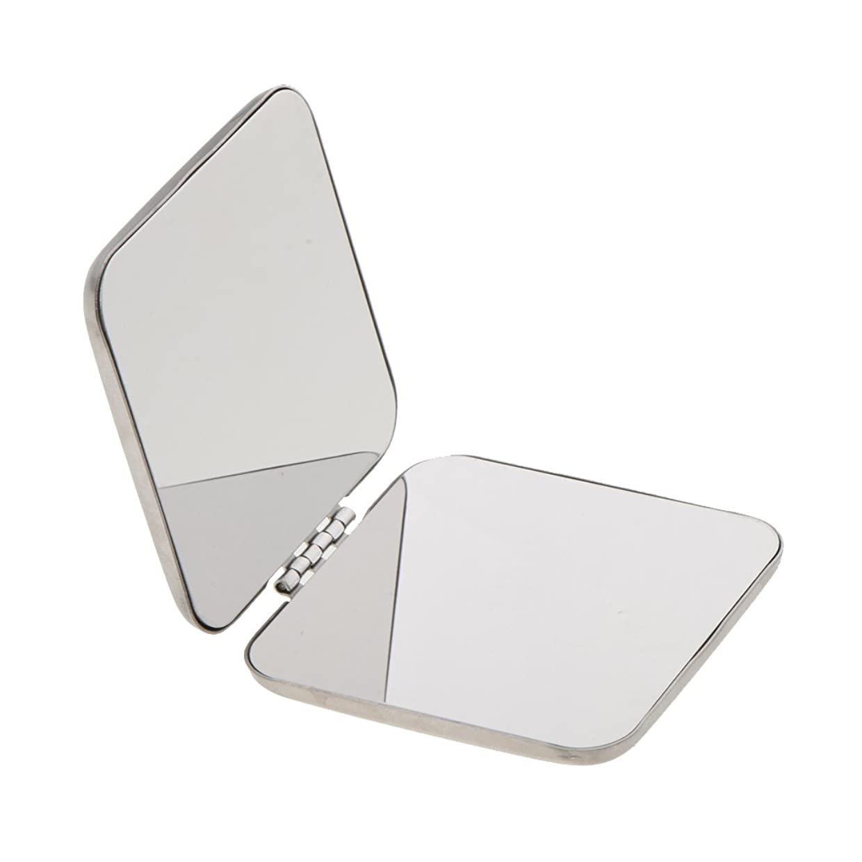 行商人見捨てるシンプルなKesoto ステンレス メイクミラー 拡大鏡 折りたたみ式 両面鏡 ミラー ステンレス製 持ち込み便利
