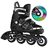 Bunao Girls Boys Adjustable Flashing Inline Skates, Fun Illuminating Rollerblades for Children and Adults, Start Roller Skating (Color5, UK_1-4/EU_35-38)