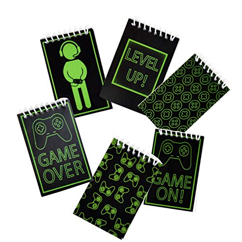 48 Count Gaming Mini Notepads Birthday Party Supplies Video Gaming Party Favors and Decorations Glowing Gamer Favor Pack for kids, Boys, Girls and Adults Bulk Mini Notepads Pack by Gift Boutique