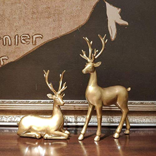 TKYZYY Reindeer Animal Figurine Statues Set Of 2, Resin Crafts Couple Deer Ornaments, For Decor Accents Living Room Bedroom Office,Gold