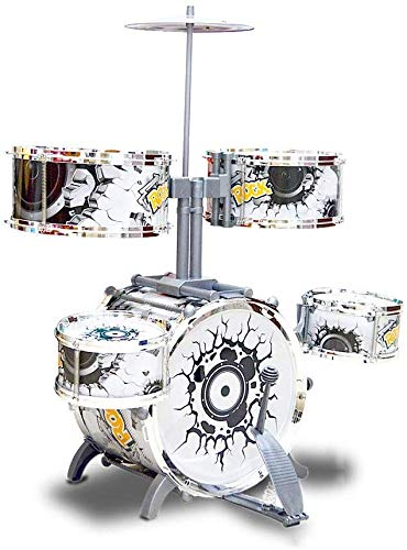 DBAF Drums Musical Toy,Childrens Drum Drums 3-6 Years Old Jazz Musical Instrument Boys and Girls Large Drums Early Education Puzzle Beginner Childrens Toys (Color : Silver) Beginners Drum Kit Set